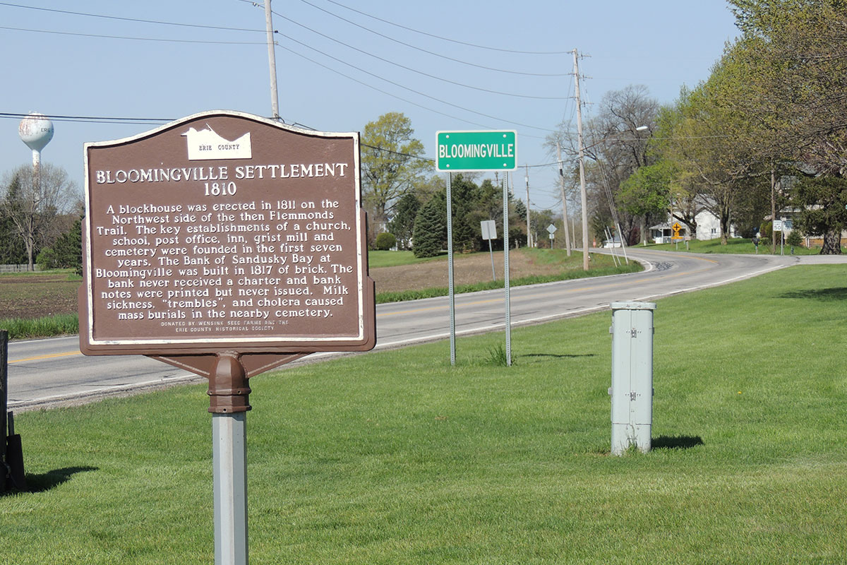 Bloomingville Settlement Marker - Erie County Ohio Historical Society