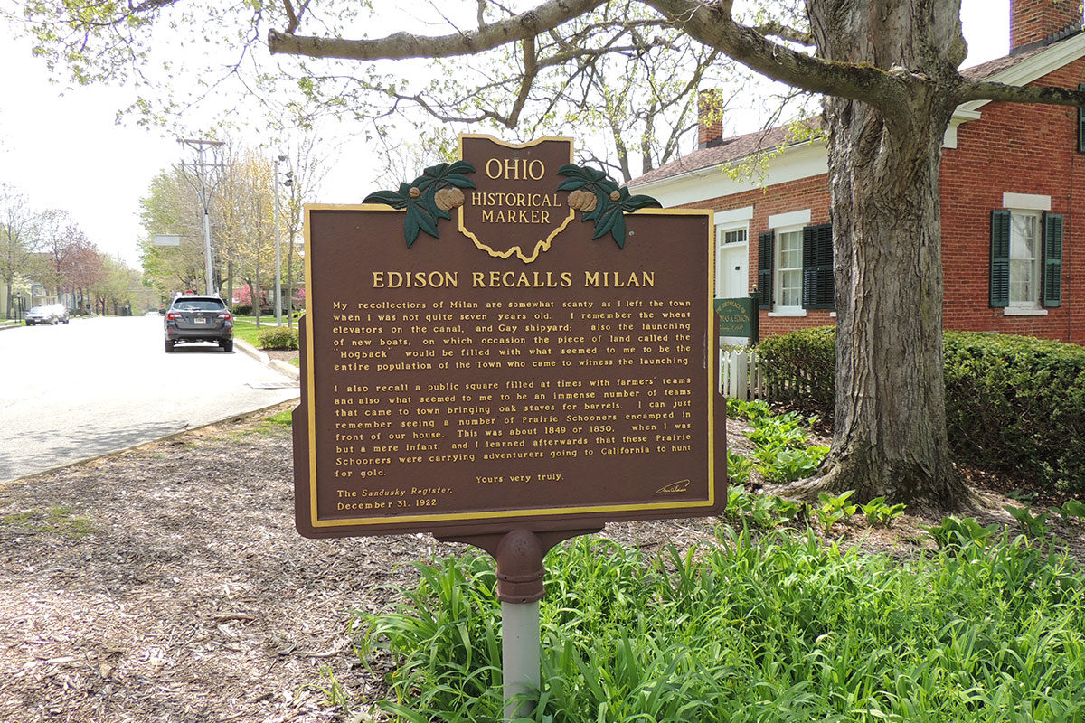 Edison Recalls Milan Marker - Erie County Ohio Historical Society