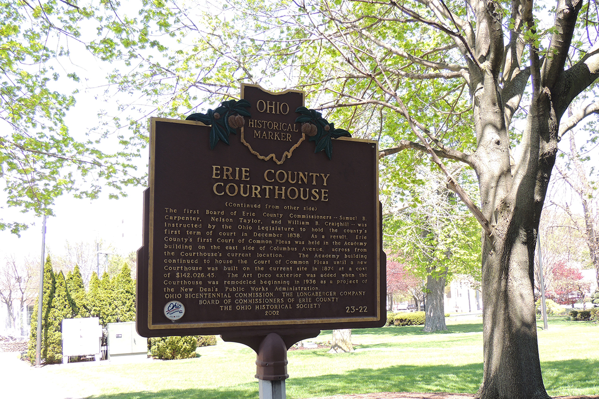 Erie County Courthouse Marker - Erie County Ohio Historical Society