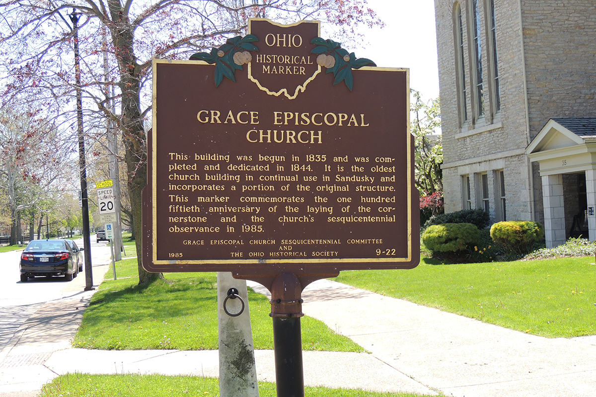 Grace Episcopal Church Marker - Erie County Ohio Historical Society