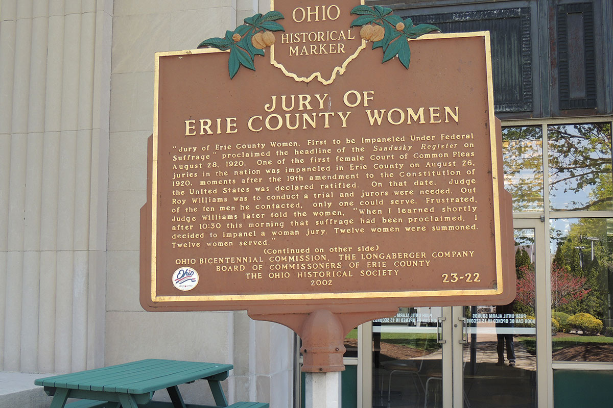 Jury Of Erie County Women Marker - Erie County Ohio Historical Society