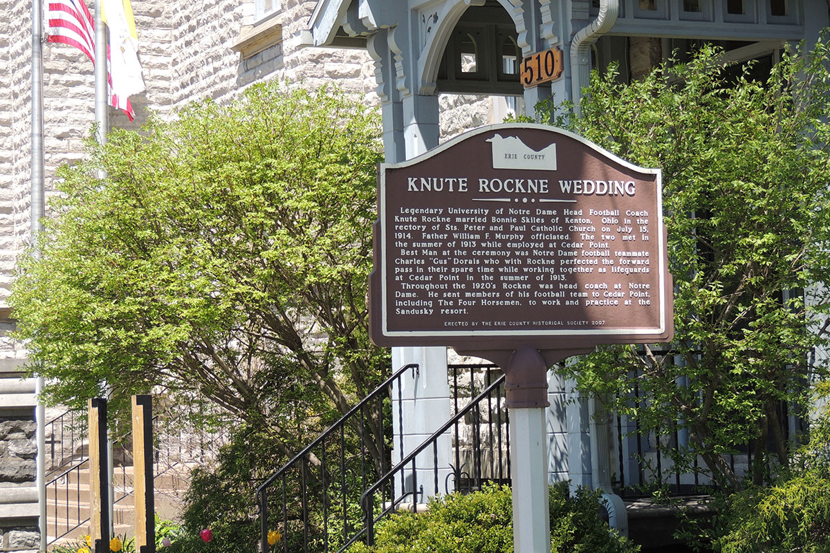 Knute Rockne Wedding Marker - Erie County Ohio Historical Society