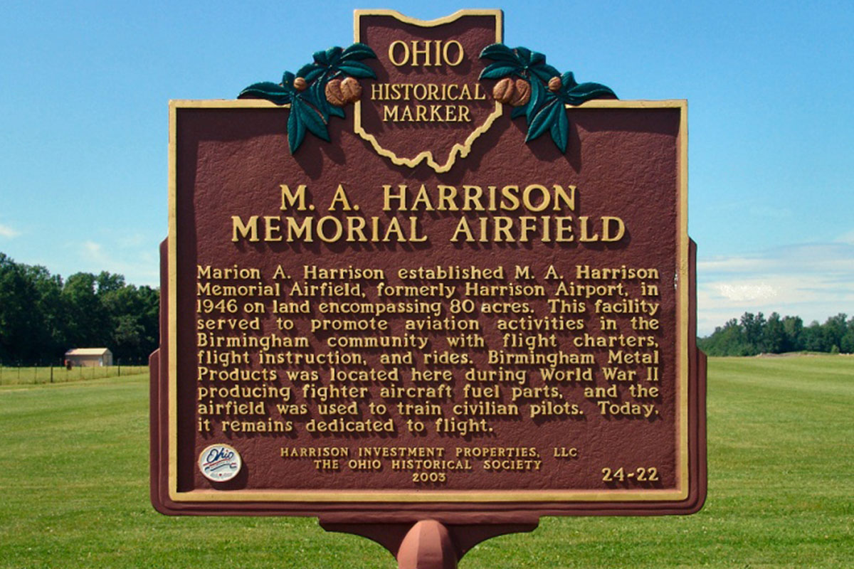 M.A. Harrison Airfield Marker - Erie County Ohio Historical Society