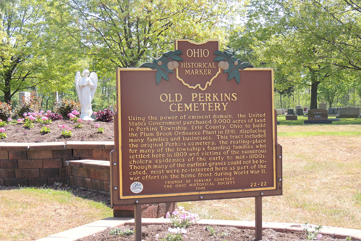 Old Perkins Cemetery Marker - Erie County Ohio Historical Society