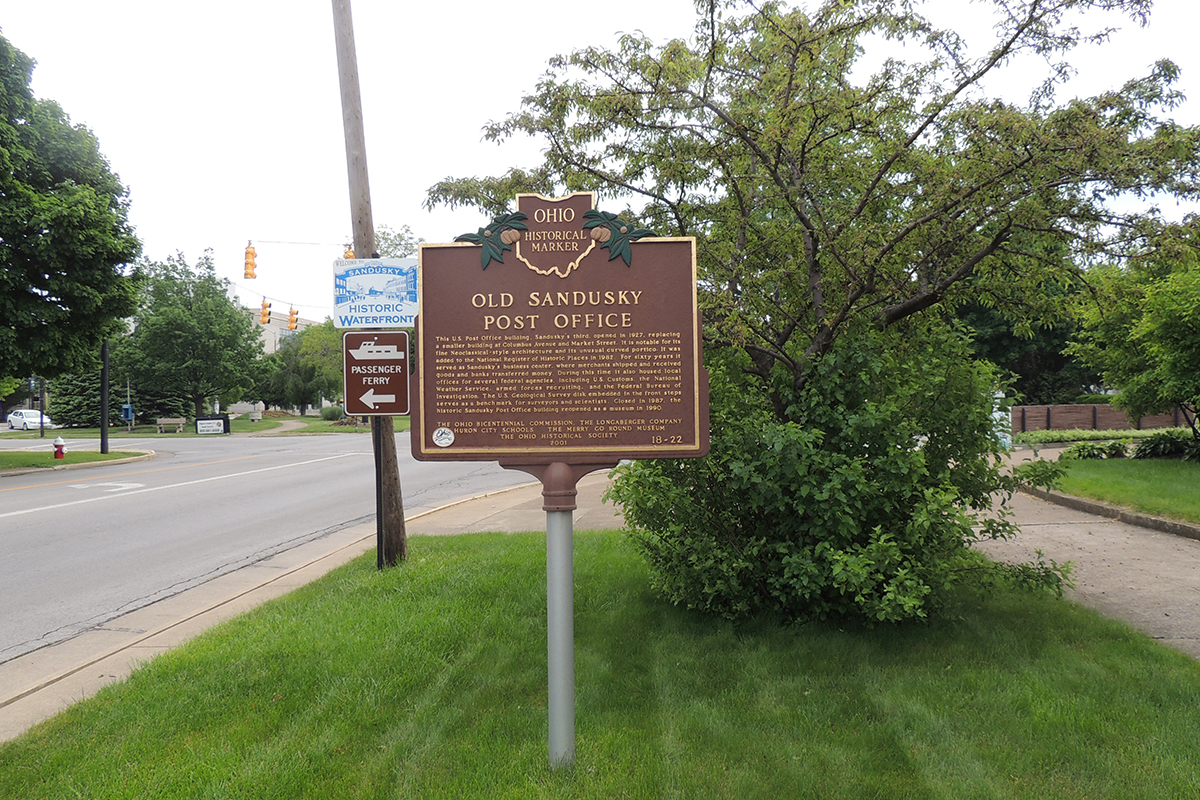 Old Sandusky Post Office Marker - Erie County Ohio Historical Society