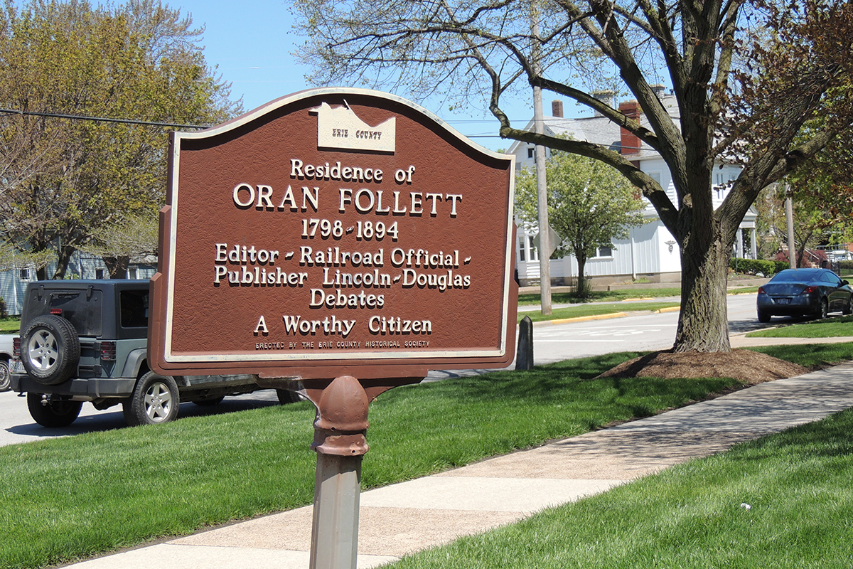 Oran Follet Home Marker - Erie County Ohio Historical Society
