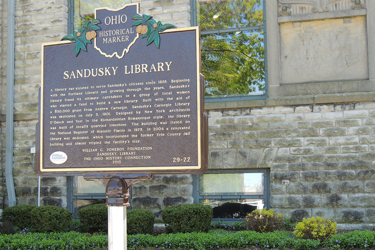 Sandusky Library Marker - Erie County Ohio Historical Society