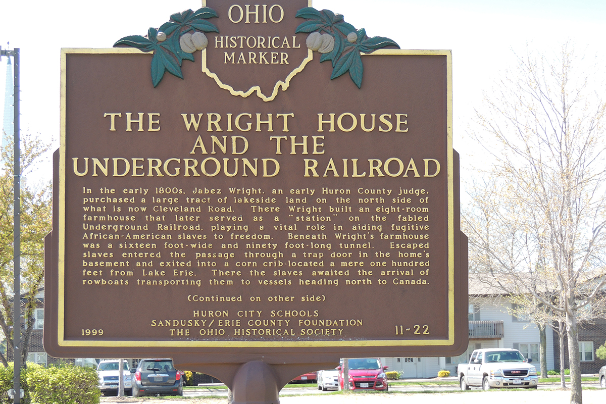 Wright House Underground Railroad Marker - Erie County Ohio Historical Society