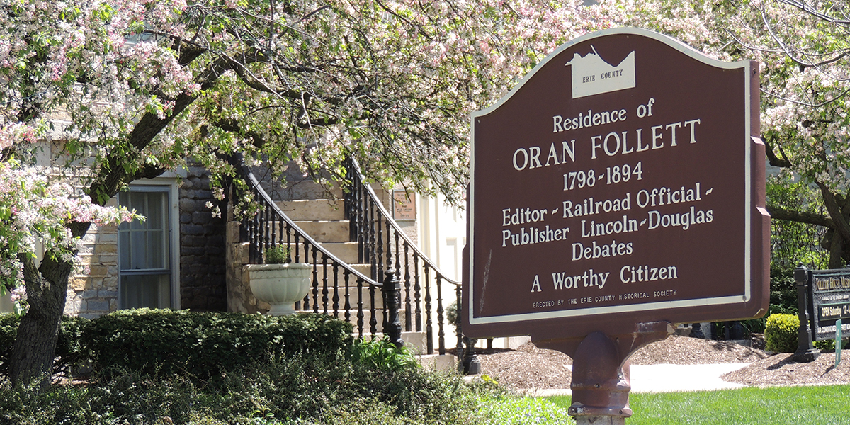 Oran Follett Marker - Erie County Ohio Historical Society